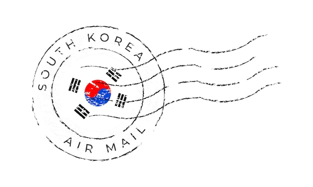 Marca postal da coreia do sul. selo da bandeira nacional isolado na ilustração vetorial de fundo branco. carimbo com o padrão oficial da bandeira do país e o nome do país
