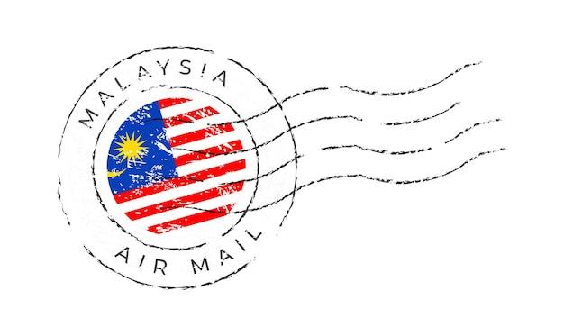 Marca postal da malásia. selo da bandeira nacional isolado na ilustração vetorial de fundo branco. carimbo com o padrão oficial da bandeira do país e o nome do país