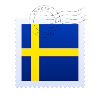 Marca postal da suécia. selo da bandeira nacional isolado na ilustração vetorial de fundo branco. carimbo com o padrão oficial da bandeira do país e o nome do país