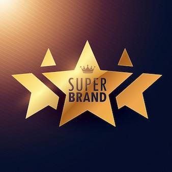 Marca super etiqueta dourada de três estrelas para sua promoção
