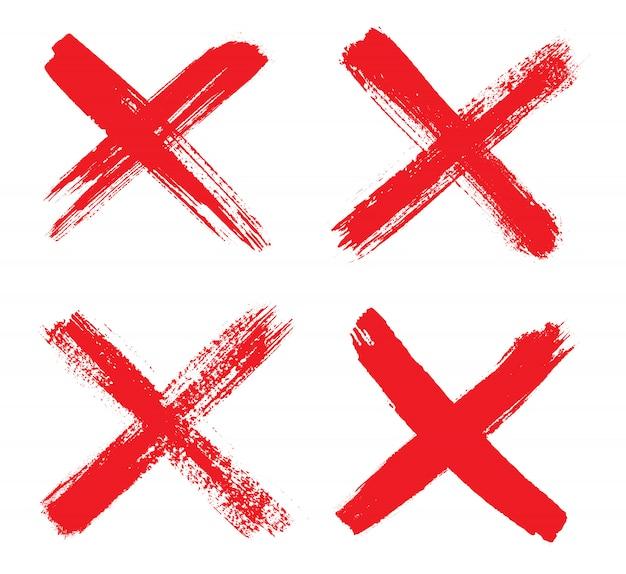 Marca x mão desenhada vermelho