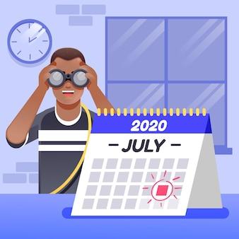 Marcação de agendamento no calendário ilustrado