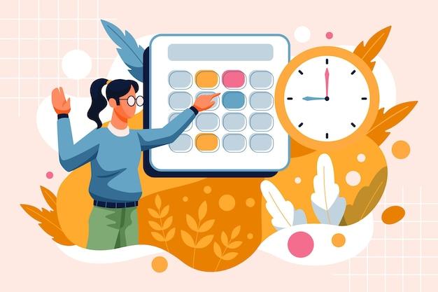 Marcação de consulta com mulher e relógio