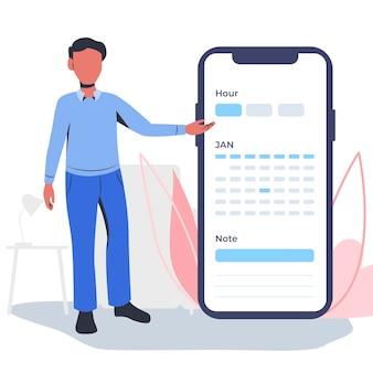Marcação de consulta com smartphone e homem