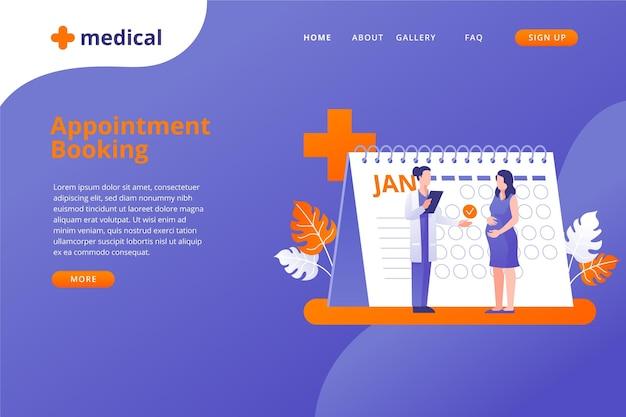 Marcação de consulta para a página de destino do médico