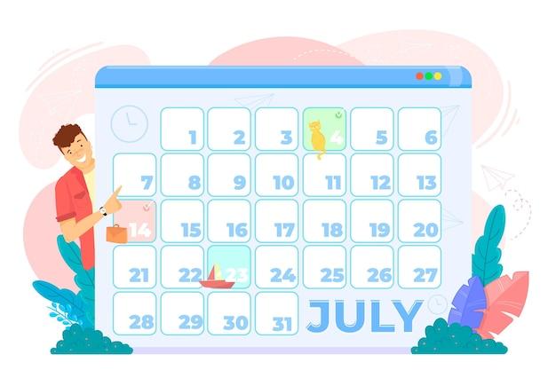 Marcação de consultas com calendário e homem