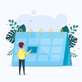 Marcação de consultas com calendário e pessoa