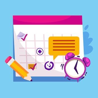 Marcação de consultas com calendário e relógio