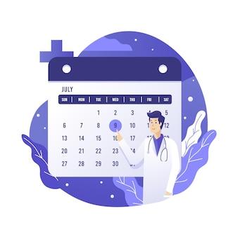 Marcação de consultas com calendário para médico
