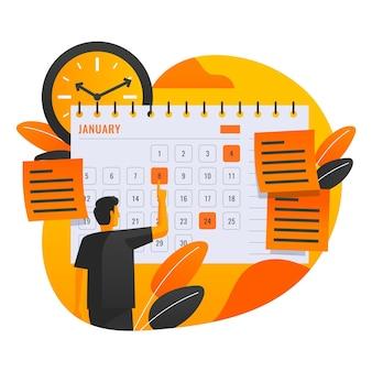 Marcação de consultas com homem e calendário
