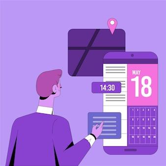 Marcação de consultas com homem e smartphone