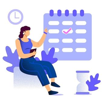 Marcação de consultas com mulher e calendário