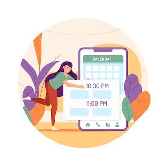 Marcação de consultas com mulher e smartphone