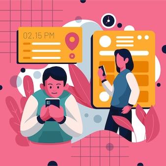 Marcação de consultas com pessoas e smartphone