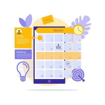 Marcação de consultas no celular com calendário