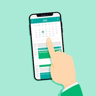 Marcação de consultas no celular, escolhendo uma data