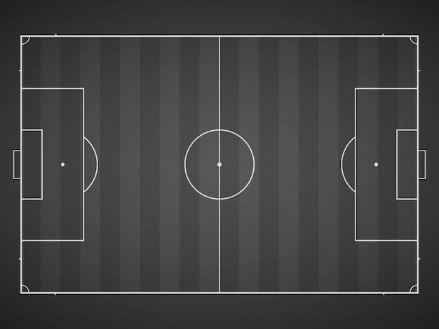 Marcação do campo de futebol em um fundo escuro