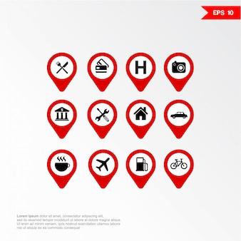 Marcador de aplicativo móvel de mapa com o conjunto de ícones.