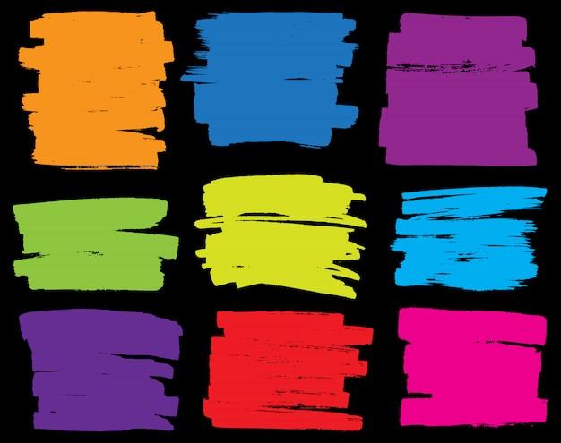 Marcador de grunge colorido manchas set