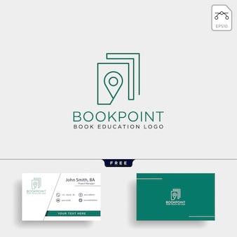 Marcador de pin de livro ou logotipo de linha simples de mapa de navegação