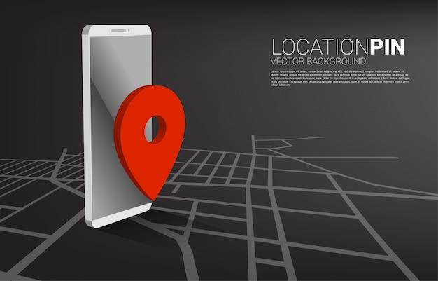 Marcador de pinos gps e aplicação de telefone móvel. conceito de localização e instalação, tecnologia gps