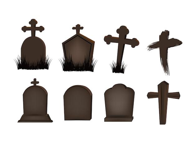 Marcador grave definido para o dia do objeto de halloween