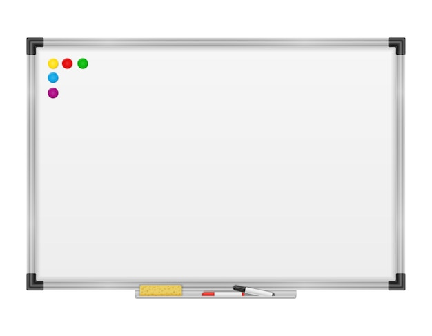 Marcador magnético de quadro branco vazio para apresentações de treinamento e educação isolado no branco