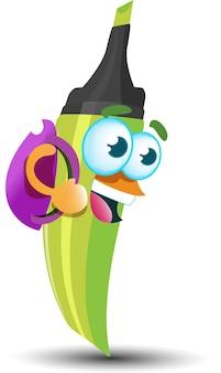 Marcador marcador verde feliz fofo mascote personagem de desenho animado