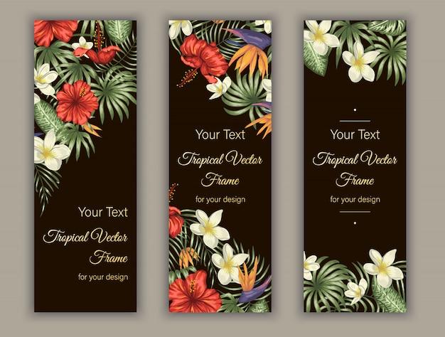 Marcadores com folhas verdes tropicais, flores de plumeria, strelitzia e hibisco.