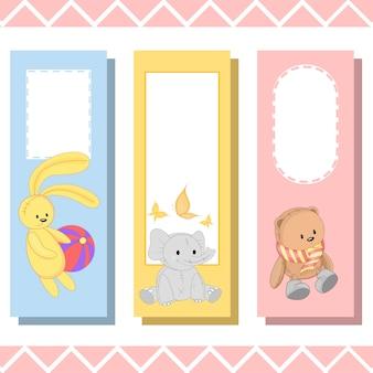Marcadores de bebê com animais fofos, gráficos vetoriais
