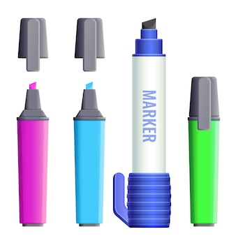 Marcadores de canetas com ponta de feltro largas com tampas. conjunto de marcadores de cores canetas hidrográficas fineliner com capas. ícones de ferramentas de pintura nas cores rosa, azul e verde