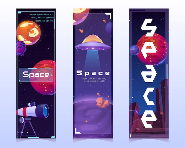 Marcadores de espaço com nave espacial de planetas alienígenas e telescópio no cosmos fundo vector vertical bann ...