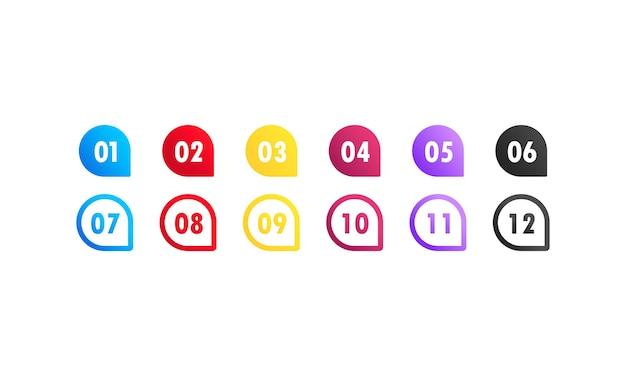 Marcadores de gradiente 3d coloridos de ponto de bala de seta de vetor com número de 1 a 12. vetor em fundo branco isolado. eps 10.