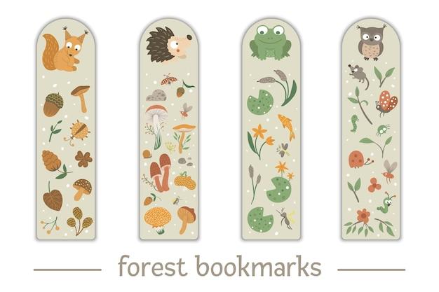 Marcadores para crianças com animais da floresta