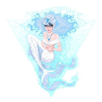 Marcando o coração com sua ilustração mãos vector mermaid