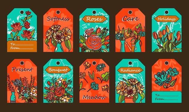 Marcas com flores. cachos em vasos, tulipas, ilustrações de rosas com texto em fundo vermelho e azul.