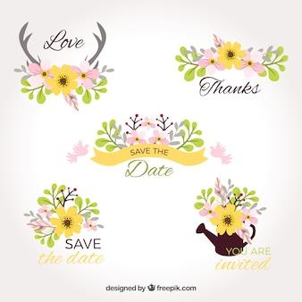 Marcas de casamento bonitas com flores