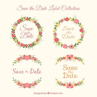 Marcas de casamento bonitas com moldura floral