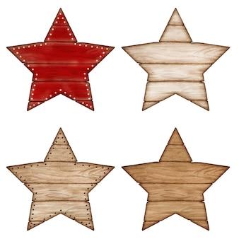 Marcas de estrela em branco de madeira rústica em aquarela