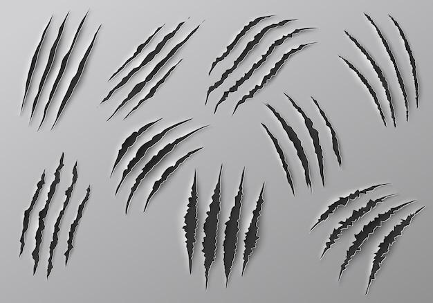 Marcas de garras, arranhões e traços rasgados de cortes de patas de animais
