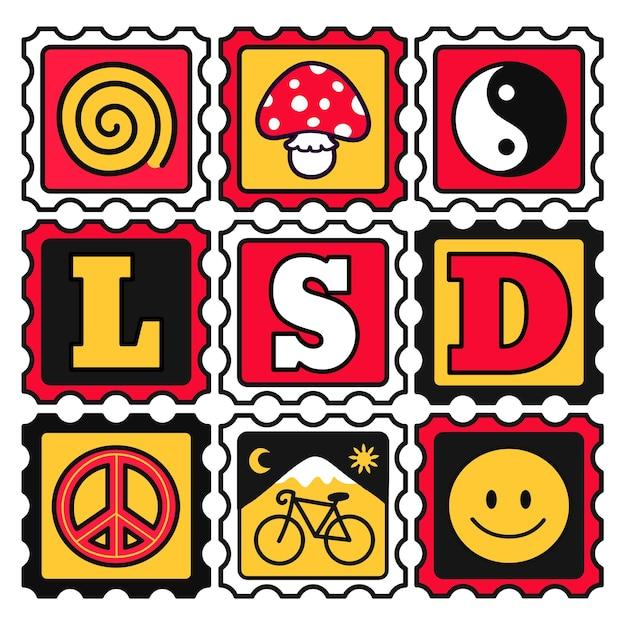 Marcas de mata-borrão em papel lsd ácido. vetorial mão desenhada doodle estilo cartoon ilustração. ácido trippy, impressão de marcas lsd para camiseta, pôster, conceito de cartão