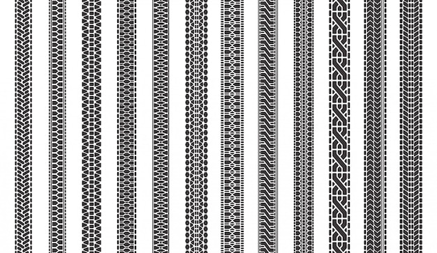 Marcas de pneu de carro. os pneus de automóvel pisam trilhas, pisas da textura do pneu, pneu do veículo marcam o grupo da ilustração dos símbolos. padrão de caminhão de automóvel, piso de impressão