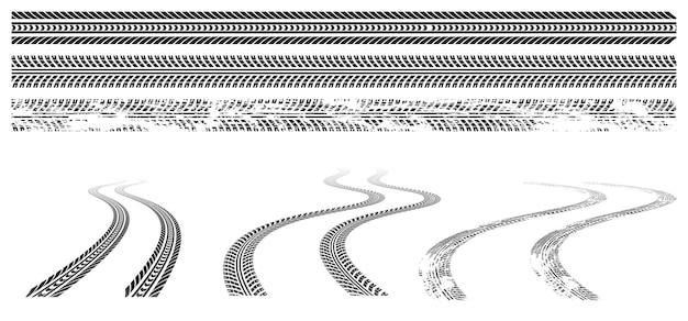 Marcas de pneu de carro pretas com impressão de roda de borracha na estrada