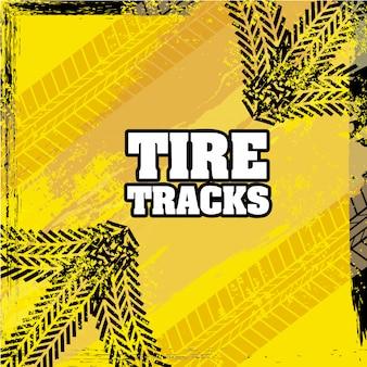 Marcas de pneu sobre ilustração vetorial de fundo amarelo
