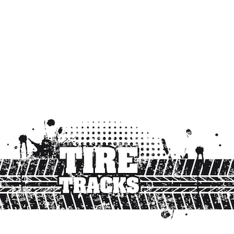 Marcas de pneu sobre ilustração vetorial de fundo branco