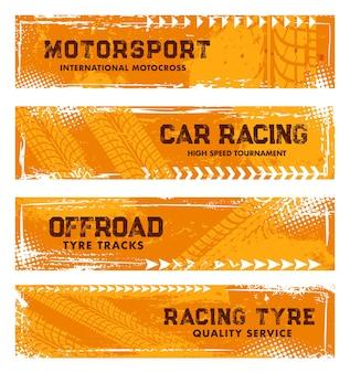 Marcas de pneus, impressões de pneus off-road, marcas de corrida de carros grunge