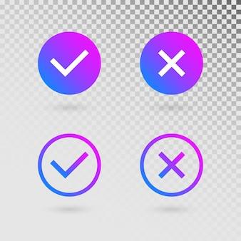 Marcas de seleção definidas em cores gradientes modernas. carrapato brilhante e cruz em formas de círculo