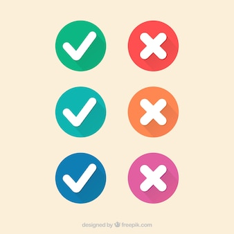 Marcas de verificação coloridos