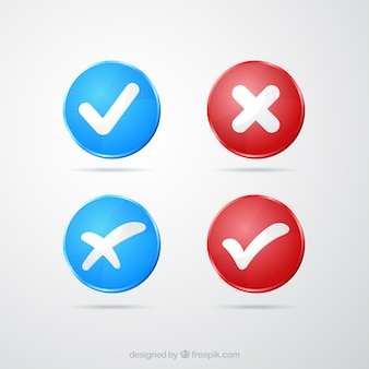 Marcas de verificação vermelhas e azuis
