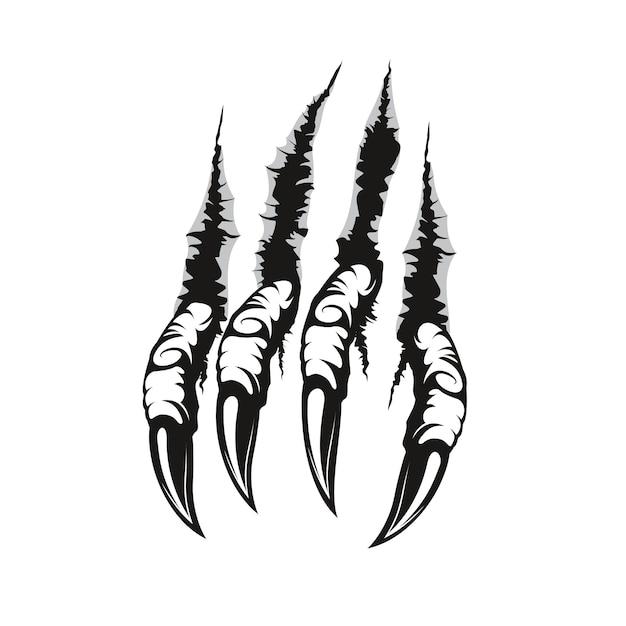 Marcas e arranhões de garras de dragão, pata de monstro assustador